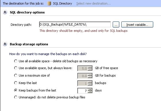 SQL job destination path