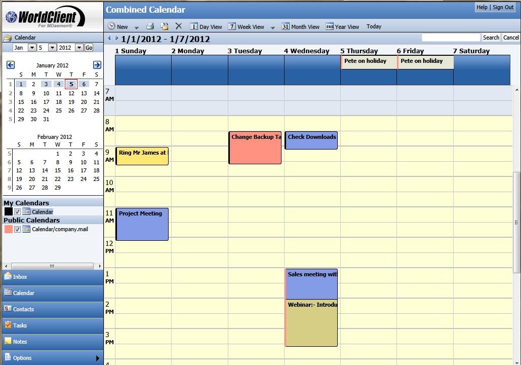 WorldClient Calendars