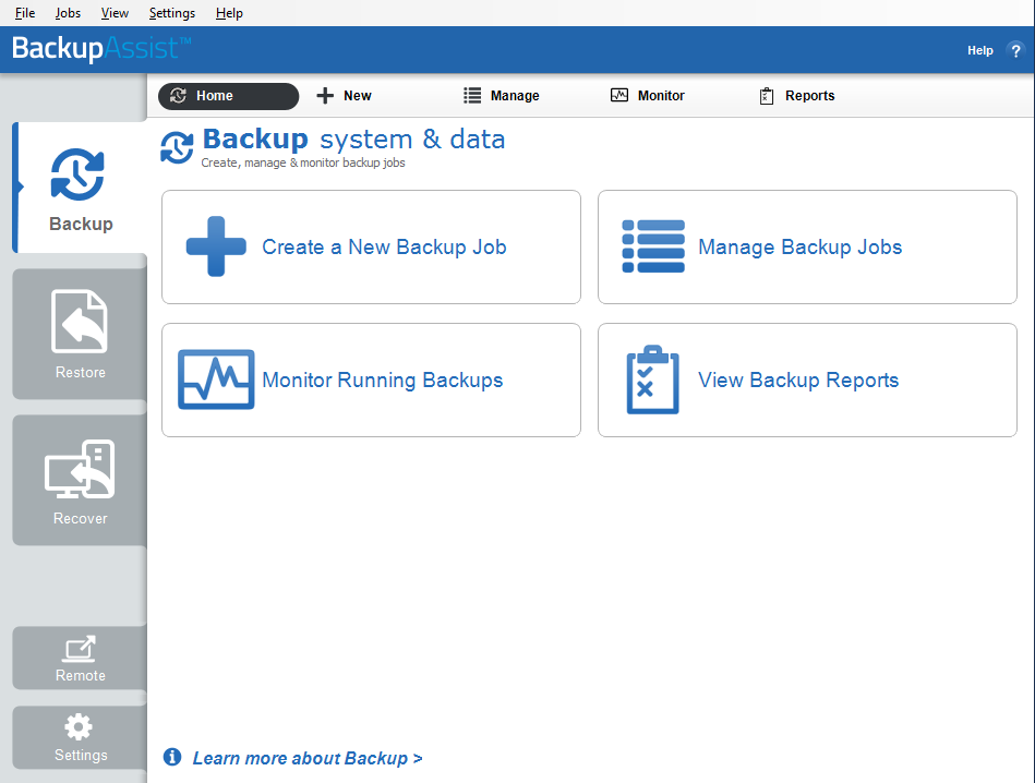 BackupAssist v8 user interface