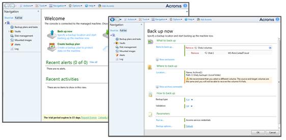 Acronis interface