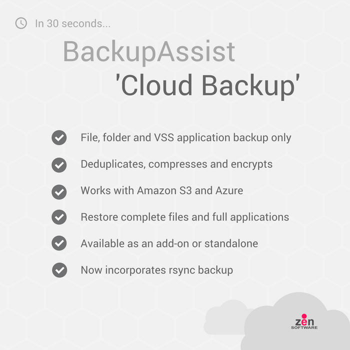 Cloud Backup in 30 Seconds