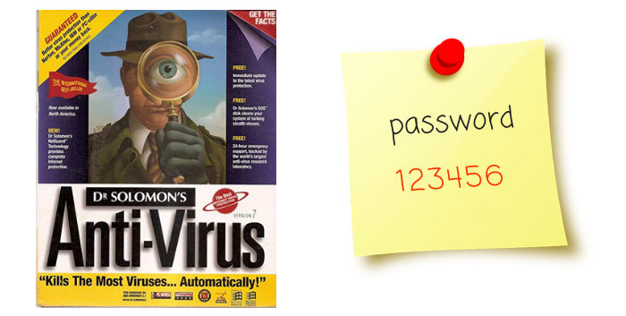 Dr. Solomons and password post-its